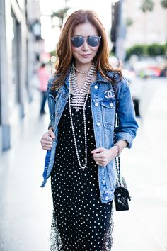 Outfit Ideas, Style Inspiration, Summer Fashion, Dior Reflected Sunglasses, Chanel Brooch, Chanel Mini Flap Bag