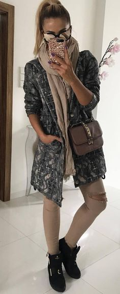 fall casual style perfection | | scarf + bag + sweater + khaki jacket + nude rips + boots