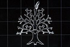 925 Sterling Silver Tree Pendant w/ Love Heart Birds (Stock)