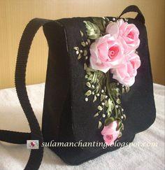 Wonderful Ribbon Embroidery Flowers by Hand Ideas. Enchanting Ribbon Embroidery Flowers by Hand Ideas. Embroidery Bags, Silk Ribbon Embroidery, Embroidery Patterns, Embroidery Supplies, Embroidery Thread, Pink Beige, Pink Silk, Ribbon Art, Handmade Handbags