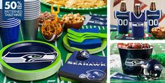 Seahawks themed Superbowl party supplies from Party City! Seattle Seahawks, Seahawks Fans, Seahawks Football, Nfl Seattle, Football Food, Super Bowl Party, Seahawks Super Bowl, Super Bowl Sunday, Party Time