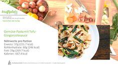 Alles drin was es braucht und schmeckt super😍 Gemüse Pasta an einer Tofu-Gorgonzolasauce, probiert es mal aus! Tofu, Pasta, Super Greens, Food Portions, Recipies, Pasta Recipes, Pasta Dishes