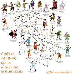 Italian Carnival Masks for each region