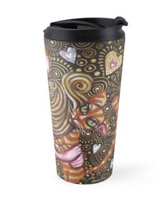 """Cat lovers travel mug - $29.52 --- """"Playing with my Heart"""" Travel #Mugs by Cherie Roe Dirksen 