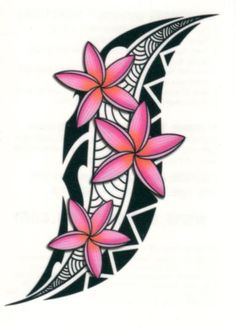 TRIBAL TROPICAL PINK FLOWERS TEMPORARY TATTOO MADE IN USA * WATER BASED * QUICK