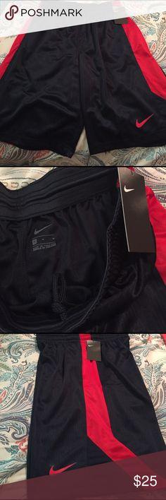 "NWT Nike men's shorts Navy with red stripe men's shorts. 11""inseam Nike Shorts Athletic"