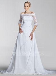 Vestidos+de+novia+-+$198.99+-+Corte+A/Princesa+Hombros+caídos+Tren+de+la+corte+Chifón+Encaje+Vestido+de+novia+con+Bordado+Lentejuelas+(002004524)+http://jjshouse.com/es/Corte-A-Princesa-Hombros-Caidos-Tren-De-La-Corte-Chifon-Encaje-Vestido-De-Novia-Con-Bordado-Lentejuelas-002004524-g4524