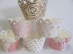 Cupcake wrappers, Blush, Gold, Pink cupcake wrappers, Set of 12 wrappers, Baby Shower decorations, Birthday Party, Wedding Decorations
