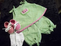 American Girl Bitty Baby Outfit Watermelon Top Bloomers Shoes Socks Book Nice - American Girl