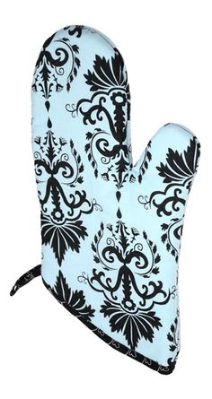 Aqua Demask Oven Mitt! For some reason I want this!