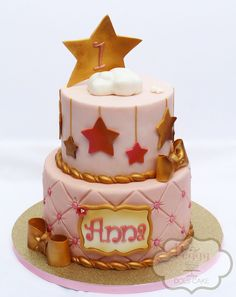 Shabby chic twinkle twinkle cake, antiqued cake, pink and gold cake, twinkle little star cake