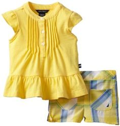 Nautica Baby-girls Infant 2 Piece Set with Placket and Pintucks, Yellow, 12 Months Nautica. $19.00