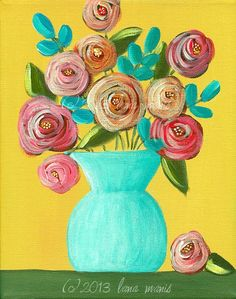 Whimsical Flowers Fine Art PRINT Acrylic Painting by LanaManisDesigns, $15.00
