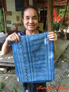 A Hmong batik textile dyed with indigo   via WanderShopper