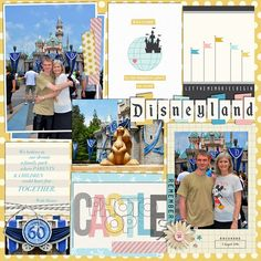 Disneyland Sleeping Beauty Castle Photo Op Disney digital scrapbooking layout using Project Mouse: Beginnings Kit and Journal Cards by Sahlin Studio and Britt-ish Designs