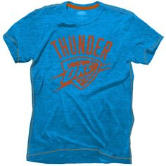 Majestic Threads Oklahoma City Thunder Light Blue Outline Contrast Stitch Tri-Blend T-Shirt