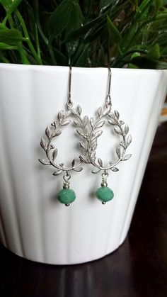 Silver Laurel Drop Earrings with Mint Green bead by TheCoralDahlia, $18.00