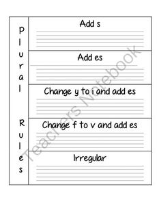 Plural noun Teacher's Notebook insert