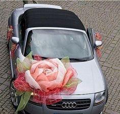http://kazbau.pulscen.kz/  #лента, #свадьба, #идея украшения автомобиля, #атласная лента, ленты из гофре, органзы, шелка. #Оформление кортежа, машины, авто