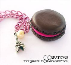 Deliciously looking kawaii Mini Macaron miniature necklace. Cute and original gift idea for any French pastries lover!  ♥ You will get One realistic macaron necklace, choose your favorite flavor: chocolate, strawberry or raspberry!  ♥ Materials: polymer clay with triple glossy varnish coating...