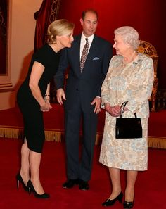 Queen Elizabeth II (R) with Sophie, Countess of Wessex and Prince Edward, Earl of Wessex during her reception to celebrate the patronages & affiliations of the Earl and Countess of Wessex at Buckingham Palace on 10.02.2015 in London, England