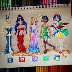 Disney Princessl Princess Tiana l Snow White l Rapunzel l social media princesses Cute Disney Drawings, Cute Drawings, Drawing Disney, Drawing Faces, Amazing Drawings, Amazing Art, Awesome, App Drawings, Social Media Art