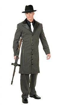 Gangster Suit & Hat Fancy Dress Kostüm schwarz & weiß 3X L