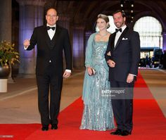 Prince Albert II of Monaco (L); Her Royal Highness Crown Princess Stephanie of Luxembourg and Prince Guillaume (R) attend a dinner hosted by Queen Beatrix of The Netherlands ahead of her abdication in favour of Crown Prince Willem Alexander at Rijksmuseum on April 29, 2013 in Amsterdam, Netherlands.  (Photo by Michel Porro/WireImage)