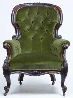 1stdibs.com | 19th Century Victorian Carved Dark Walnut Lounge Chair