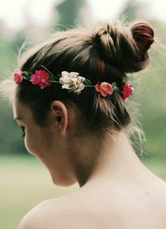 Top knot + flower crown