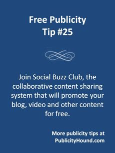 Social Buzz Club is a content sharing site whose members promote each others' content. It has three levels of membership, including a level for free. It will get your content in front of new audiences, and that will push more traffic to your blog, website, YouTube channel, etc. A fabulous free tool for free publicity--for anyone who needs to be viewed as an expert and have increased visibility. It also helps you form strategic alliances with other #bloggers #sbc #socialbuzzclub #contentmarketing