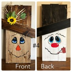 me ~ Reversible holiday pallet face signs Fall Wood Crafts, Halloween Wood Crafts, Christmas Wood Crafts, Easy Fall Crafts, Christmas Signs Wood, Pallet Crafts, Pallet Art, Diy Pallet Projects, Wooden Crafts