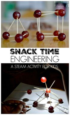 Another variation: What can you build with just grapes and toothpicks? Healthy snack time engineering for kids, plus ideas to turn this into a STEM + Art (STEAM) activity. Science Crafts, Stem Science, Science For Kids, Science Projects, Science Experiments, Stem Projects, Projects For Kids, Art Projects, Steam Activities
