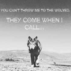 You can't throw me to the wolves, they come when I call.
