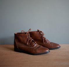 Vintage BROWN Embossed ANKLE lace up Booties US 7.5 by heightofvintage