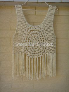 Hippie flecos Tank top, encajes de ganchillo flecos cordón del chaleco del verano de la playa círculo Crochet(China (Mainland))