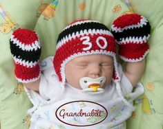 CHICAGO BLACKHAWKS Hockey Hat Crocheted with Number by Grandmabilt, $45.00