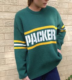 Vintage 80s Green Bay Packers Retro Sweater (Size: Medium - Adult) on Etsy, $45.00 #etsy #packers #gopackgo