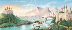 """FINALLY found it! Been searching for ages to find this particular unicorn wallpaper mural art!!!! It's on ebay! it's 60"""" high x 144"""" wide"""