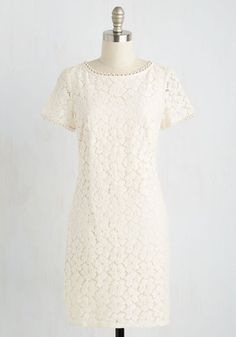 History in the Merrymaking Dress - White, Solid, Graduation, Shift, Short Sleeves, Spring, Lace, Best, Scoop, Mid-length, Woven, Sundress