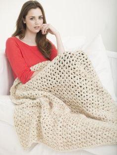 5 1/2 Hour Neutral Tones Afghan (Crochet) - Lion Brand Yarn