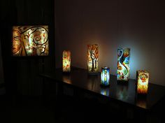 Mosaic lamp, with cristalline marble, quartz and Murano Glass.