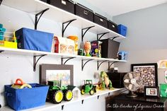 playroom shelves - open shelves help keep toys organized.  Lots of other unique organization ideas in this post.