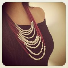 Oxblood Fabric Layered Necklace  Silver Beaded by TesoroDelSol, $50.00