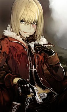 Mihael Keehl/Mello/Death Note/ I just love that guy he is so cool he use that gun he have he always act in solo always play the bad boy and the perfect quality is eating chocolate all the time and never never never get fat/If you still don't get it I'm a fan of Mello and of every bad boy like him!
