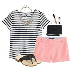 J.crew striped tee & chino shorts