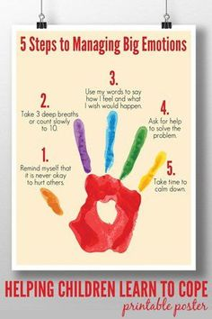 5 Steps to Managing Big Emotions for toddlers and preschoolers printable Poster. parenting