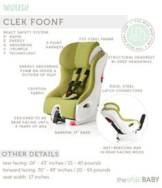 Clek Foonf Review - a convertibel car seat designed to be used rear facing up until 4 years of age!