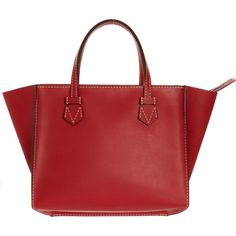 Moreau Bregançon Zip Tote ($3,100) ❤ liked on Polyvore featuring bags, handbags, tote bags, red, leather tote bags, leather purses, leather handbags, leather pouch and red leather tote