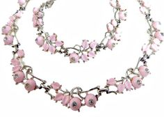 Pink Thermoset and Rhinestone Set Bracelet by EclecticVintager